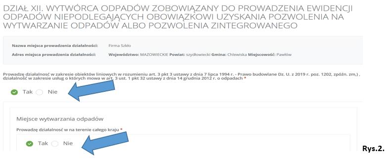 Screen z systemu BDO przedstawuający fragment wniosku aktualizującego dział XII